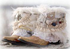 """Benutzerdefinierte BRIDAL Upcycled neue COWBOYSTIEFEL - Stiefel Boho Hochzeit Stiefel """"Zigeuner"""" Stiefel Festival Boots Leder Stiefeletten"""
