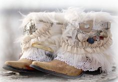 Custom BRIDAL Upcycled new COWBOY BOOTS boho by TheLookFactory