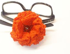 Hand crochet brooch celosia orange flower jewelry by SilviStudio, $14.00