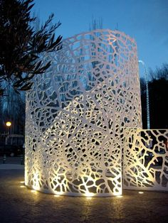 Steel Sculpture, Sculpture Art, Showroom Design, Steel Art, Shade Structure, Mural Wall Art, Metal Panels, Light Installation, Landscape Lighting