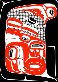 Someday I would love to have a piece from a Coast Salish artist. Seawolf Inside Its Own Dorsal Fin by Robert Davidson, Haida artist. Haida Kunst, Haida Art, Native Canadian, Canadian Artists, American Indian Art, Native American Art, Art Haïda, Art Inuit, Art Premier