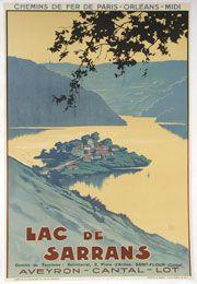 Chemin de fer Paris Orléans Midi - lac de Sarrans - Aveyron - Cantal - Lot - illustration de Hallo -