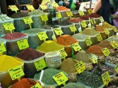 Herbs and spices for sale at a market in Istanbul.