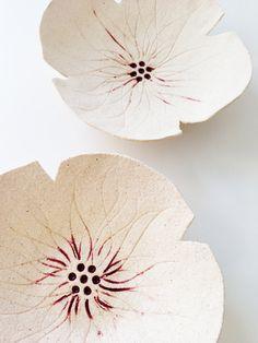 Ceramic poppy sculptures set 2 Cream textured pottery bowls flowers Wedding…