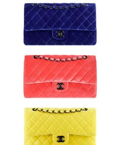 Classic Chanel Velvet Bag in lots of funky colours. Love it ! :-)