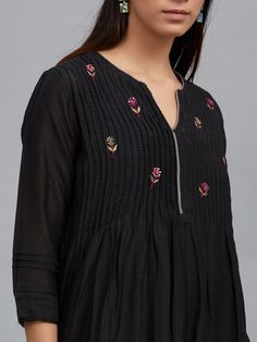 The Loom- An online Shop for Exclusive Handcrafted products comprising of Apparel, Sarees, Jewelry, Footwears & Home decor. Netted Blouse Designs, Dress Neck Designs, Saree Blouse Designs, Kurti Embroidery Design, Latest Kurti, Kurta Neck Design, Kurti Patterns, Indian Designer Suits, Kurta Designs Women