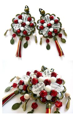 Dolce & Gabbana summer 2013 style earrings with red and white glass beads, colorful tassels and charms with Mother Mary