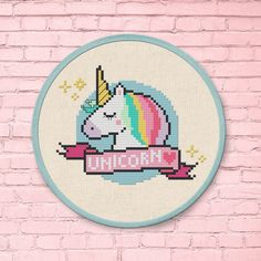 Sleepy Unicorn. Best Seller Modern Simple Colorful Cute Rainbow Unicorn Bust Lashes Banner Counted Cross Stitch Pattern PDF Instant Download