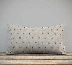 Hand Stitched Pillow Cover in Olive Wool and Natural Linen by #JillianReneDecor