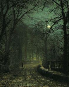 oldoils: Um Yorkshire Lane em novembro (1873) Óleo sobre cartão, 54,6 x 43,2 cm | John Atkinson Grimshaw