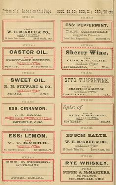 FREE VINTAGE APOTHECARY LABELS