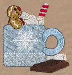Threadsketches' set Sugar and Spice - Christmas embroidery designs, gingerbread man in hot cocoa