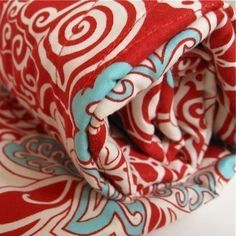 BABY QUILT Organic Crib Bedding Blanket / Eco Friendly Modern White Red Turquoise Blue Circus (Exclusive to SewnNatural)