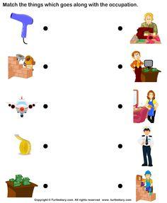 Matching Jobs Worksheets For Kindergarten Community Helpers Worksheets, Community Helpers Preschool, Kids Math Worksheets, School Community, Preschool Jobs, Kindergarten Science, Preschool Learning Activities, Kids Learning, Math For Kids