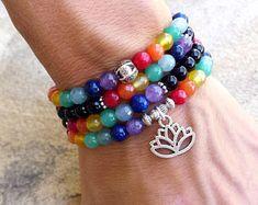108 Mala Chakra bracelet or necklace, Chakra bracelet, Mala bracelet, Onyx bracelet, 7 chakra, Yoga bracelet, Meditation bracelet
