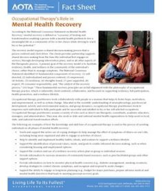 Occupational Therapy's Role in   Mental Health Recovery