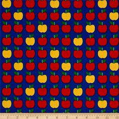 Kaufman Back To School Apples Blue from @fabricdotcom  Designed by Anne Kelle for Kaufman Fabrics, this cotton print is perfect for ringing in the new school year. Use this fabric for quilting and craft projects as well as apparel and home décor accents. Colors include red, green, yellow and blue.