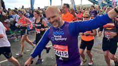 Doug crossing Tower Bridge - Virgin London Marathon 2016!