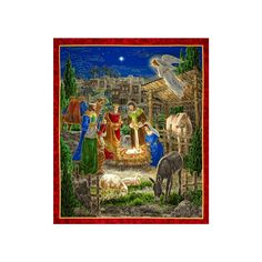 """Holy Gathering Metallic Nativity Panel Multi from @fabricdotcom  Designed by Liz Goodrick-Dillon for Quilting Treasures, this cotton print panel measures 44"""" x 35"""" and is perfect for quilting, apparel and home decor accents. Colors include grey, blue, green, burgundy, red, brown, green, peach, gold and cream with gold metallic accents."""