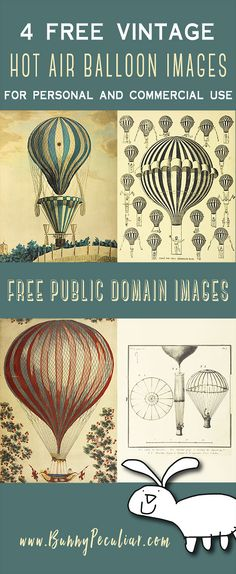 Vintage hot air balloon images.  Four awesome public domain images, free for personal or commercial use from Bunny Peculiar.