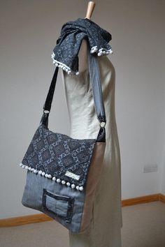 Messenger bag  with Ajrak fabric panel - Bronze rombs. $38.00, via Etsy.