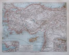 1897 Kleinasien - alte Landkarte Karte Lithografie old map