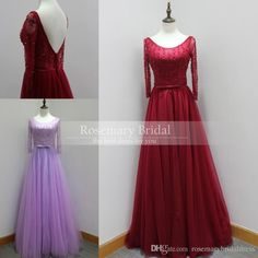 Real Dresses 100% High Quality Custom Made Long Sleeves Winter Prom Dresses Dark Red Lavender A Line Sexy Backless Evening Dress Gown 2016 Online with $111.0/Piece on Rosemarybridaldress's Store | DHgate.com