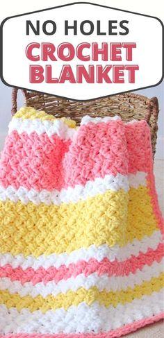 Free Crochet Blanket Pattern for Babies - Crochet Dreamz Chunky Crochet Blanket Pattern Free, Afghan Crochet Patterns, Baby Blanket Crochet, Crochet Baby, Free Crochet, Crochet Stitches, Knitted Baby Blankets, Crocheted Afghans, Crochet Tablecloth