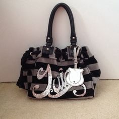 Juicy Couture Oversized Handbag *Willing to change price* Black and gray striped; Glitter letters; Very roomy on the inside; Used but in good condition; No trades Juicy Couture Bags