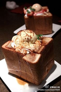 i reli want to try this japanese honey toast! Delicious Desserts, Yummy Food, Tasty, Japan Dessert, Ice Cream Bread, Food For The Gods, Honey Toast, Snack Recipes, Dessert Recipes