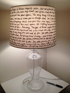Lamp Shade that has Everlong lyrics by Foo Fighters....this is pretty awesome...but you could write anything on it.