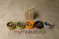 Felted Mini Bowl and Six Felted Acorns  Gift Set  by mymarketstall