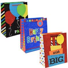 Voila Large Glittery Happy Birthday Gift Bag