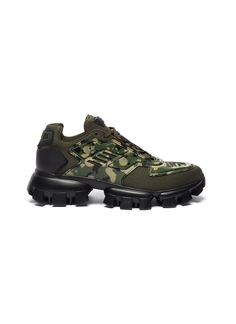 There were whispers in the industry of an erasure of chunky silhouettes in favour of sleeker designs; these Cloudbust Thunder sneakers by Pr Brands Online, Khaki Green, Thunder, Sneakers Fashion, Camouflage, Hiking Boots, Prada, Branding Design, Silhouette