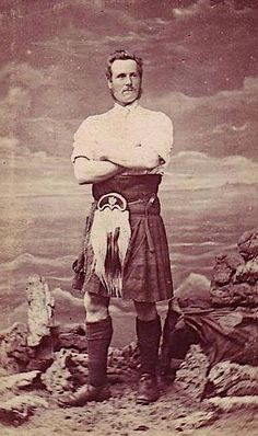 vintage 19th century kilt photograph Highland games strong man