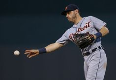 Ian Kinsler throws to first, 05/03/2014