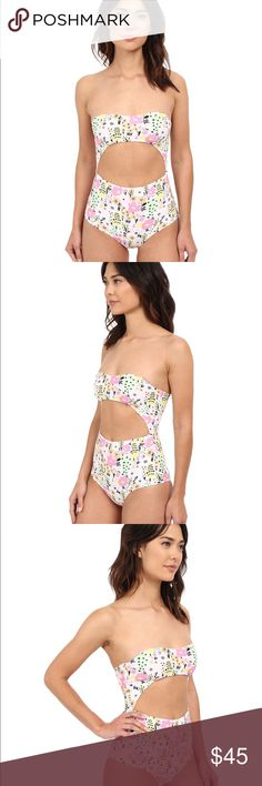 Lolli cut out floral one piece swimsuit Cutest, brand new with tags Girly Girl cutout swimsuit from Lolli. Comes with removable straps. Size medium but will fit xs and s (runs small) Lolli Swim One Pieces