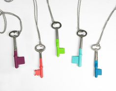 Antique Skeleton Key Necklaces - with Colors.  Super trendy right now, but pretty darn adorable!  Could make if I ever find keys at a thrift store...