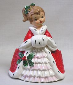 Vintage Napco Christmas Lady Planter Beautiful w Hand in Muff