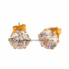 aretes con brillo en acero de color oro rosado por mayor - SSEGG272361