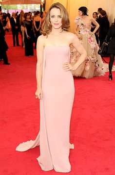 To the #MetGala we wear pink. Rachel McAdams wears a blush-colored Ralph Lauren Collection dress to the 2014 Met Gala