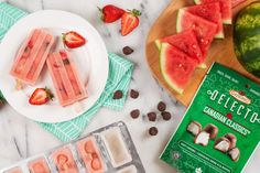 A refreshing treat for those hot summer day. Made with Delecto Canadian Classics Cream Pepts. Greek Yogurt, Sweet Recipes, Watermelon, Summertime, Frozen, Strawberry, Treats, Snacks, Chocolate