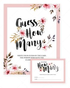 Printable baby shower Guess How Many sign and cards with blush pink flowers – LittleSizzle