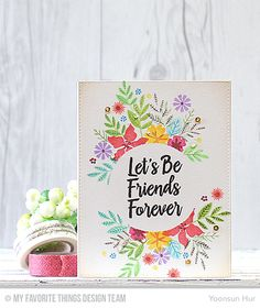 Friends Forever Card by Yoonsun Hur featuring the Mini Modern Blooms and Encouraging Words stamp sets #mftstamps
