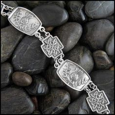 Scottish Thistle and Celtic Knot bracelet in Sterling Silver.