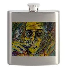 """Hunter S. Thompson Tribute """"Turn Pro"""" Flask on Artwork and Play by D Renee Wilson"""