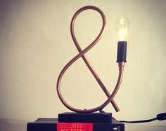 Lampe de tuyauterie en cuivre de symbole / par MechanicalBirdsShop