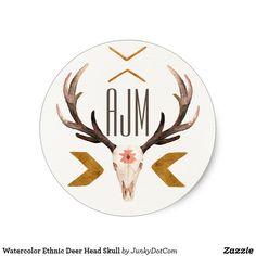 Watercolor Ethnic Deer Head Skull Classic Round Sticker Sept 24 2017 - #zazzle #junkydotcom #gifts  3x