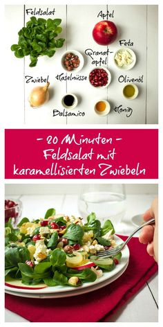 Salat, Abendessen, zum Mitnehmen, lecker, einfach, Granatapfel, Feldsalat, Wintersalat, 20 Minuten, karamellisierte Zwiebeln