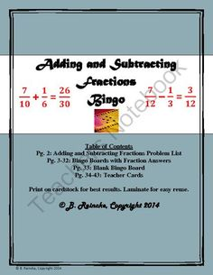 Adding and Subtracting Fractions Bingo (30 pre-made cards!) from Reincke15 on TeachersNotebook.com -  (43 pages)  - Use as a fun, engaging way to practice adding and subtracting fractions bingo.